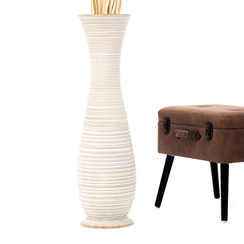 Leewadee jarrón Grande para el Suelo – Florero Alto y Hecho a Mano de Madera exótica, Recipiente de pie para Ramas Decorativas, 90 cm, White Wash