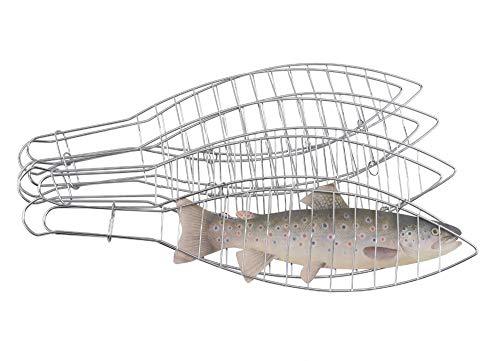 TrendLine Fischbräter 4er-Set Edelstahl 42 cm Fischhalter Fischwender Fischgrill