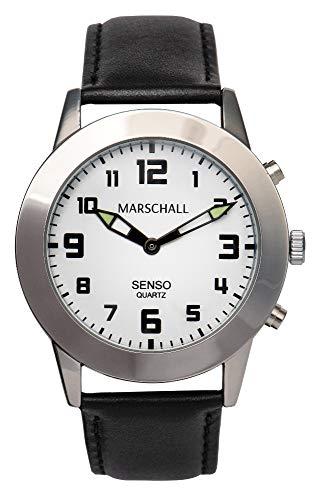 Sprechende Herren-Armbanduhr mit Touch-Funktion MV Lederarmband Senso