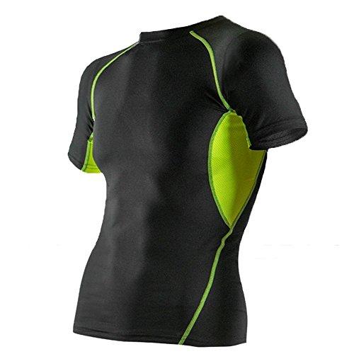 YYGIFT® pour Homme à séchage Rapide Respirant Outdoor Manches Courtes Cyclisme Fitness Course athlétique Compression sous Couche de Base t-Shirts