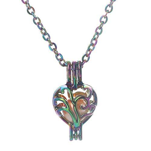 Preisvergleich Produktbild Aromatherapie-Anhänger Regenbogen Farbe Rebe Aroma Box Feine Perle Käfig Anhänger Halskette Aromatherapie Ätherisches Öl Diffusor Box Halskette Oyster Pearl