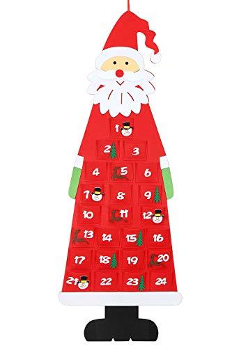 Calendario de Adviento de Fieltro navideño, Calendario de Adviento de Santa para Colgar en la Pared de 3.8 pies con Bolsillos de 24 días, Decoraciones para la Puerta de la Oficina en casa- Rojo