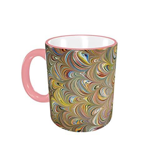Taza de café Trendy Golden Peacock Feather Tazas de cerámica con Asas para Bebidas Calientes - Latte, Tea, Cocoa, Tea Cup, Coffee Gifts 12 oz,Yellow