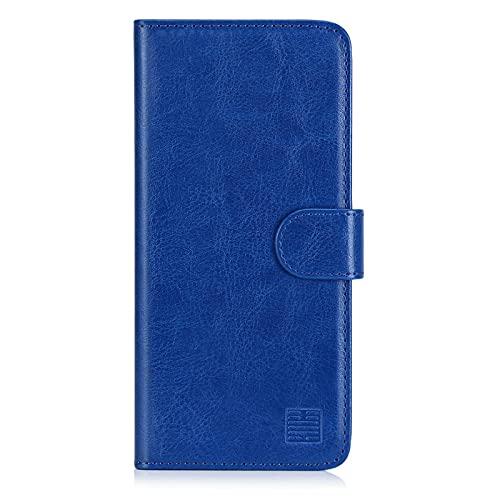 32nd Funda Flip Carcasa de Piel Tipo Billetera para Motorola Moto E6 Plus con Tapa y Cierre Magnético y Tarjetero - Azul