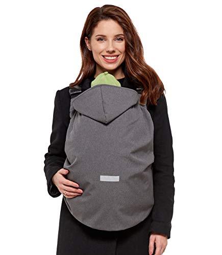 Softshell Cover, Tragecover für Babytragen und Tragetücher, leicht gefüttert, wasserdicht winddicht Sofsthell (Wassersäule: 10.000 mm), grau