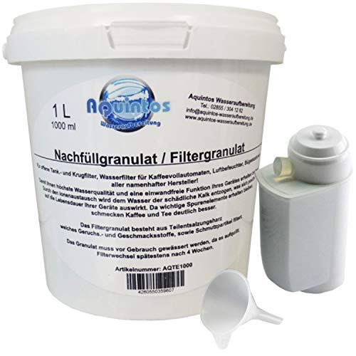 Aquintos Wasseraufbereitung Alternativ zu Siemens TZ70003 Bosch TCZ7003 Patrone/Refill-Set mit 1 L Nachfüllgranulat