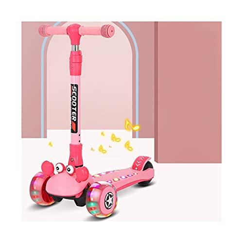 HDZW Scooter de los niños Plegables PU parpadeando 3 Ruedas niños Scooter Altura Ajustable Altura monopatín para niños Regalo para niños para niña 5.5 (Color : Pink+Music Light+5CM)