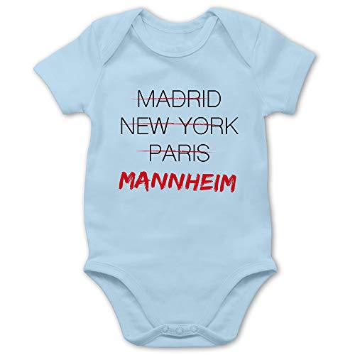 Städte & Länder Baby - Weltstadt Mannheim - 3/6 Monate - Babyblau - Baby_Body_Kurzarm_BZ10 - BZ10 - Baby Body Kurzarm für Jungen und Mädchen
