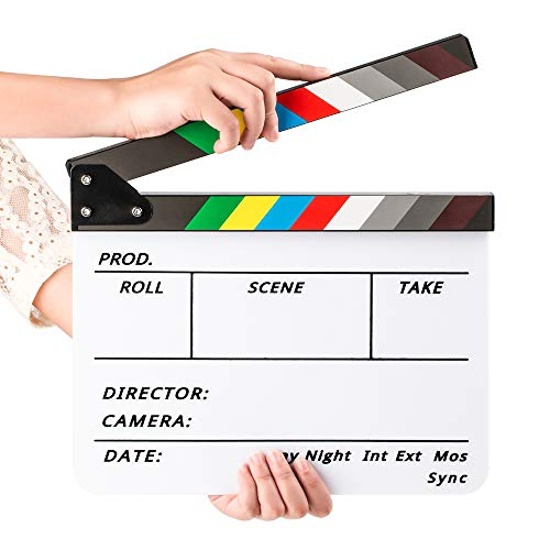 Fotover Video Szene Clapperboard Movie Filmklappe Dry Erase Slate for Director Film Movie Cut Action