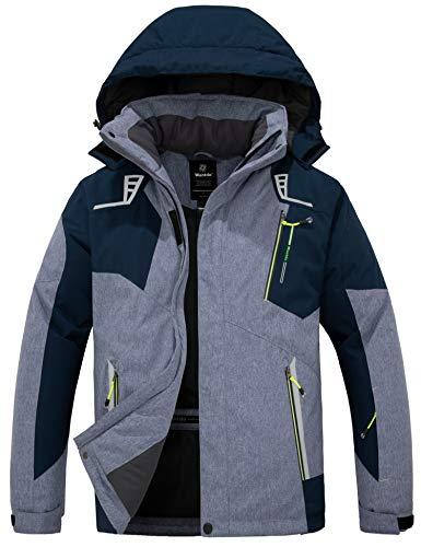 Wantdo Men's Hooded Skiing Jacket Mountaineering Winter Snow Coat Windproof Raincoat Blue M