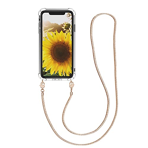 kwmobile Carcasa de TPU Compatible con Apple iPhone XR - Funda de Silicona Transparente - Case con cordón de Metal de 120CM