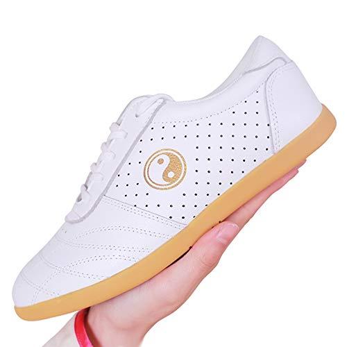 Antideslizantes Suela Blanda Zapatos De Taekwondo,Etranspirable Zapatos De Artes Marciales,Cuero Tai-Chi ZapatosBreathable/white-37