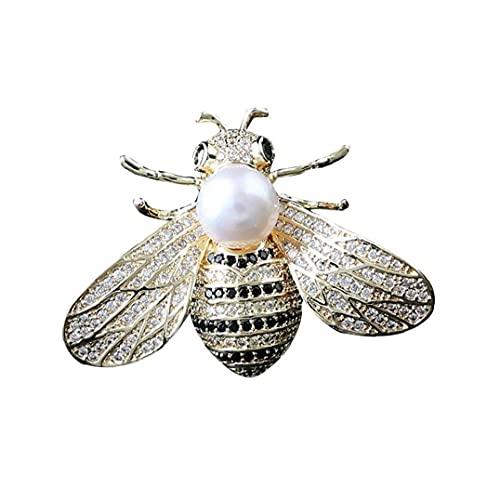 BFDMY 1pc del Rhinestone De La Perla De La Broche De La Abeja Botones Temáticos del Insecto Perla Broches del Pin Cristalino De La Manera Pernos para La Mujer Plata
