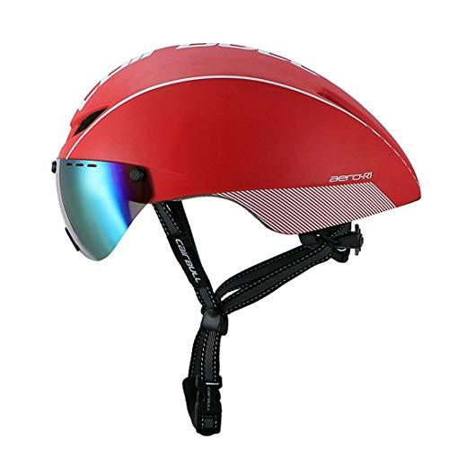 Carretera Bicicleta Casco Tiempo Trial Pneumático Bicicleta Montar Casco Gafas Multicolor Lente Red White 54-60cm