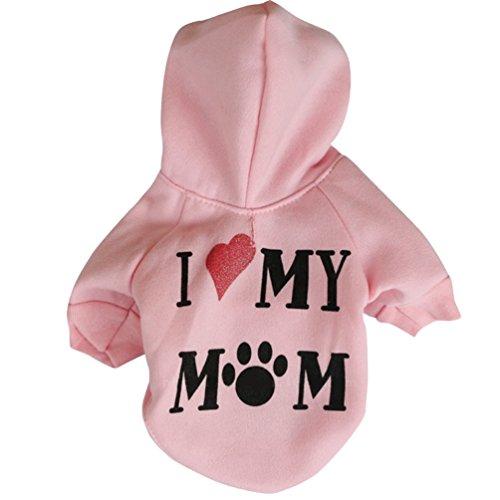 YiJee Haustier Bekleidung Drucken T-Shirts Welpe Hund Katze Hoodie Warm Sweatshirts Pink S