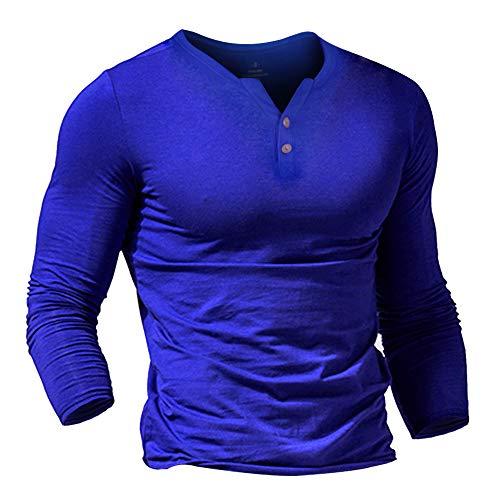 Herren Henley Beiläufig Kurzarm T-Shirt Single Taste Knopfleiste Einfacher V-Ausschnitt Hemden Baumwolle Color Blau Size Large
