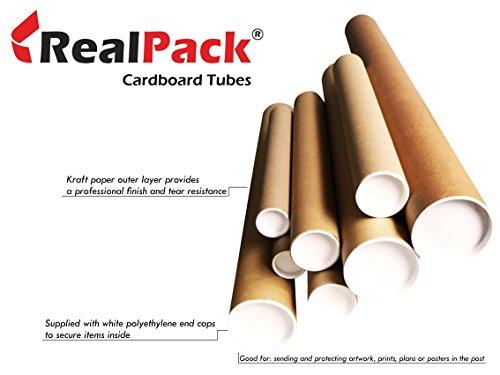 REALPACK® Versandrolle, hochwertig, stabile Pappe, Kunststoff-Endkappen, 5,1cm,330mm,ideal zum Schützen Ihrer Ware A0 braun