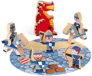 Janod Mini Story Box Toy 8 Piece Imagination and Role Playing Dragon and Knight Painted Wooden product image