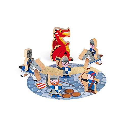Janod J08581 Set Story-8 Holzfiguren-Spielzeug für fantasievolles Spielen-Ritter, Drachen und Burgen-Ab 3 Jahren