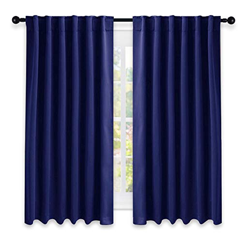 "NICETOWN Blackout Draperies Curtains Window Drapes - (Royal Navy Blue Color) 52"" W by 63"" L, Set of 2, Blackout Curtain Panels for Nursery"