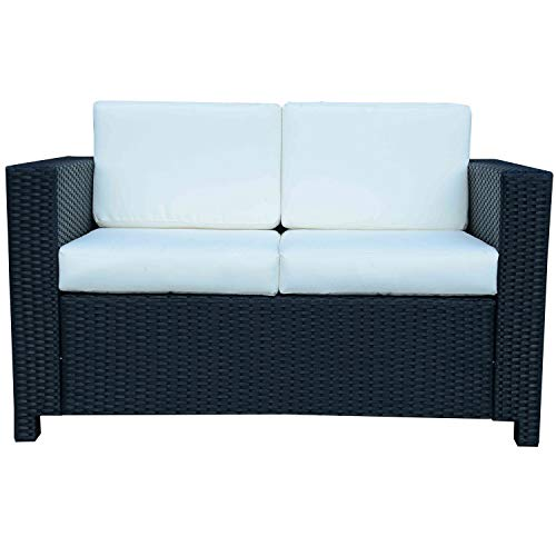 Outsunny Rattan 2 Seater Sofa Chair All-Weather Wicker Weave Chair Outdoor Garden Patio Furniture - Black
