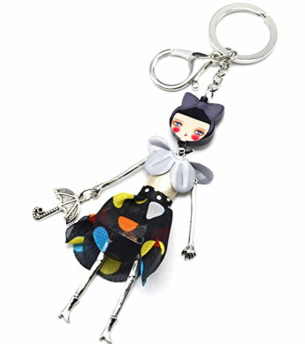 PT907L-Llavero, diseño de joya de bolsa-Muñeca articulada con vestido de cuello volantes y tela, color negro con diseño de moda