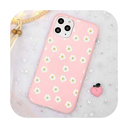 Lindo dibujos animados margarita flor teléfono caso caramelo color rosa para iPhone 11 pro XS MAX 8 7 6 6S Plus X 5S SE 2020 XR-a5-iPhone11PROMAX