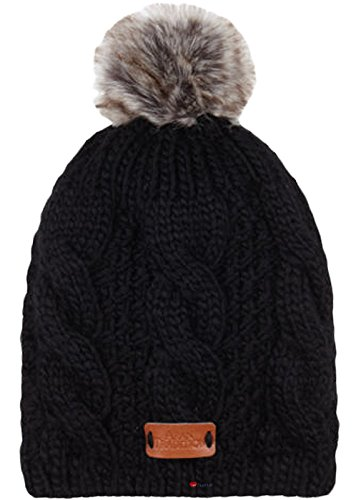 I Luv LTD, I Luv LTD Arran fourrure tricot chapeau orné en gris foncé