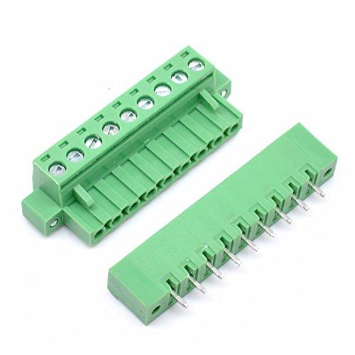 Willwin 10 Set 5,08 mm Abstand 9-polige steckbare Klemmenblöcke der Leiterplatte Grün