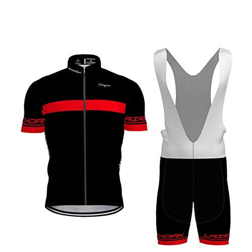 Hengxin Body Tuta Ciclismo Completo Bici Uomo Estivo con Maglia e Pantaloncini Corti Imbottiti (Rosso, Medium)
