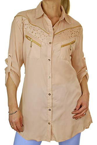 icecoolfashion dames fijn Georgette shirt top met ritssluiting 8-16