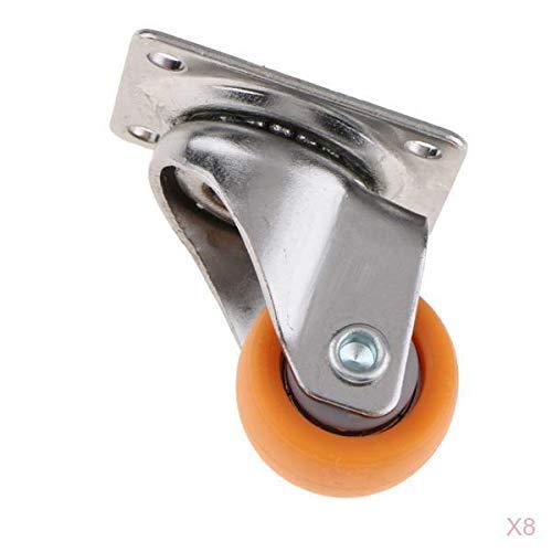 joyMerit Rueda Giratoria con Placa Giratoria de Nailon 8x para Carros, Naranja 25 Mm 13 Kg