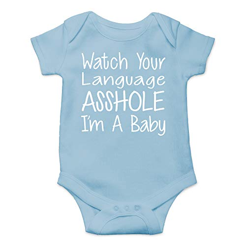 CBTwear Watch Your Language I'm A Baby Funny Romper Cute Novelty Infant One-Piece Baby Bodysuit (Newborn, Light Blue)