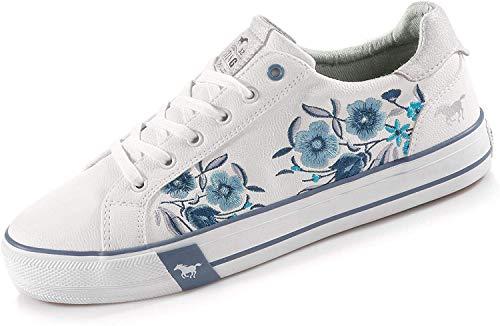 Mustang Damen 1313-303-18 Sneaker, Weiß (Weiß/Blau 18), 38 EU