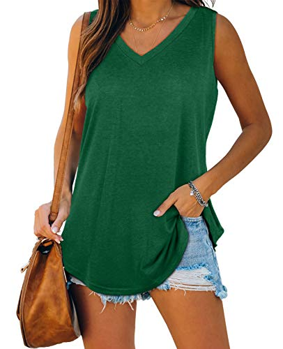 XIEERDUO Plus Size Tank Tops for Women V Neck Sleeveless Tanks Casual Loose Fit Green 2XL