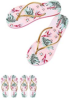 Miniso Women's Floral-print Flip Flops (Gold+Pink+Red+Green)[L[40/41]]