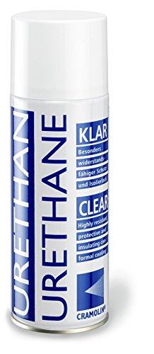 URETHAN-KLAR 400ml Spraydose - hochwertiger Einkomponenten Polyurethan Schutz und Isolierlack - ITW Cramolin - 1211611 - besonders widerstandsfähig, inkl. 1 St. DEWEPRO® SingleScrubs