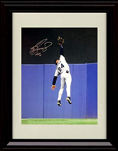 Framed Ken Griffey Jr - Leaping Catch at Wall - Autograph Replica Print