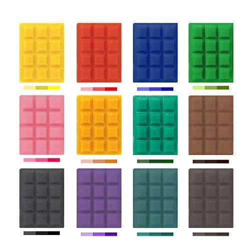 toolco Eine große Auswahl von 12 beliebten Farben Kerzenwachs-Farbstoff für die Kerzenherstellung, 60 g Soja-Wachs-Farbstoff für die Herstellung von 100 lb Wachs, DIY-Duftkerzen