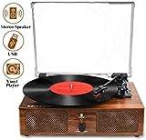 Platine Vinyle Bluetooth, Tourne-Disque Gramophone à l'ancienne avec Haut-parleurs intégrés et entraînement par Courroie USB AVCE 3 Vitesses pour Le Divertissement et la décoration de la Maison