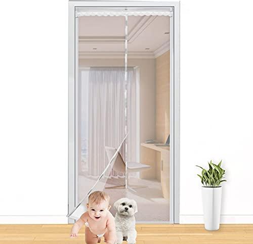 Siebwin Mosquitera Puerta Magnetica, Malla de Alta Densidad Cortina Mosquitera con 3 Parches y Cinta Adhesiva, Utilizados en el Dormitorio y la Cocina Balcón de la Sala, 210X 90cm