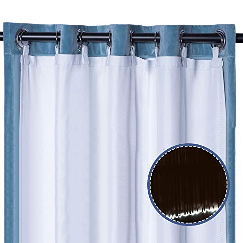 """Rose Home Fashion Thermal Insulated Blackout Curtain Liner Panel-Ring Included- Curtain Liner 100% Darkening,Blackout Liner for 63 Inch Curtains:50""""x59"""" 2pieces-Ring"""