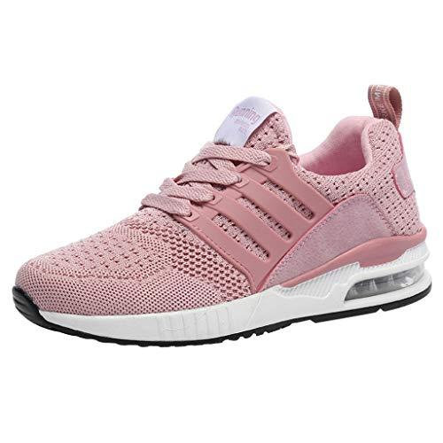 Sneakers für Herren/Skxinn Unisex Laufschuhe Straßenlaufschuhe Casual Sportschuhe Leichte Trainingsschuhe Turnschuhe rutschfeste Atmungsaktiv Mode Freizeitschuhe 36-44 EU Reduziert(Rosa,36 EU)