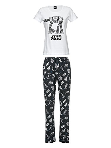 Star Wars AT-AT - Pijama para mujer (algodón), color blanco y negro...