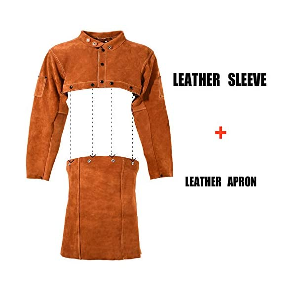 Leaseek Leather Welding Apron with Sleeve 2