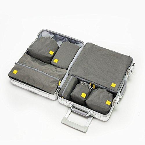 Voyage essentiel sac 7 pièce voyage paquet étanche en nylon tissu voyage sac de rangement vêtements pliage sac portable lavable ( Color : Gray )