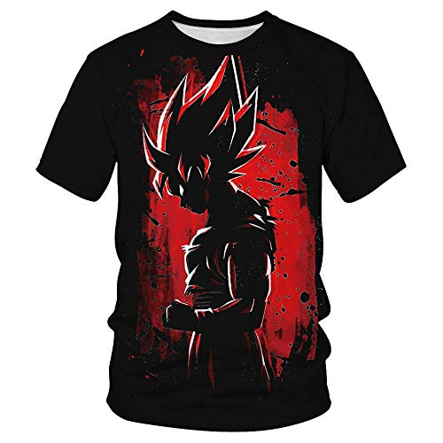 PERRTWDLF Camiseta Informal Dragon Ball Z Manga Corta Unisex impresión 3D Camiseta Goku Hombre Mujer Verano Anime japonés Divertido Camiseta Adolescente Ropa deportiva-1101_XL