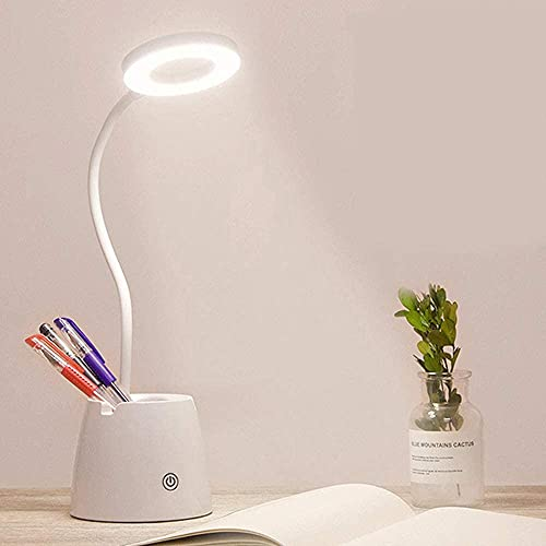 Lámpara Escritorio LED Flexo de Escritorio con Control Táctil 3 Modos de Brillo Luz Blanca Cuidado Ocular Carga USB Puede Convertirse en Soporte para Teléfono Soporte para Bolígrafo