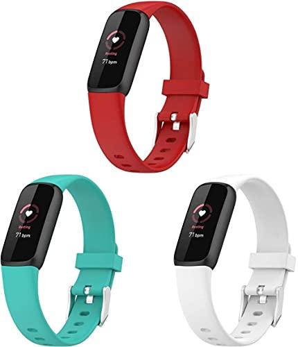 Classicase Correa de Reloj Compatible con Fitbit Luxe, Impermeable Reemplazo Correas Reloj Silicona Banda (3-Pack I)