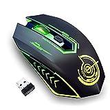 UHURU RatónInalámbrico para Juegos, Ratón Gaming con 10000 DPI, 6 Botones Programables, 7 Luces LED, Software de Juegos y Diseño Ergonómico para PC y Laptop